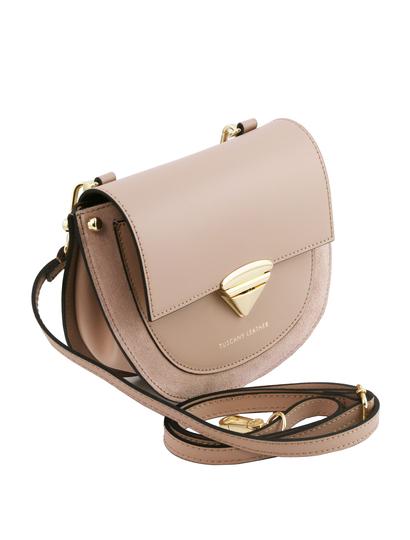 Geanta dama de firma din piele naturala taupe, Tuscany Leather, Talia