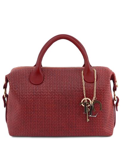 Geanta dama din piele printata, rosie, Tuscany Leather, TL KeyLuck Maxi