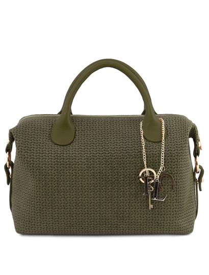 Geanta dama din piele printata verde, Tuscany Leather, TL KeyLuck Maxi