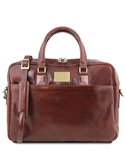 Geanta laptop din piele maro, cu 2 compartimente, Tuscany Leather, Urbino