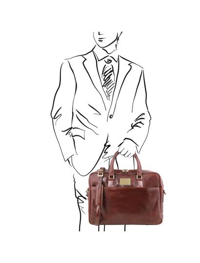 Geanta laptop piele maro, cu 2 compartimente, Tuscany Leather, Urbino