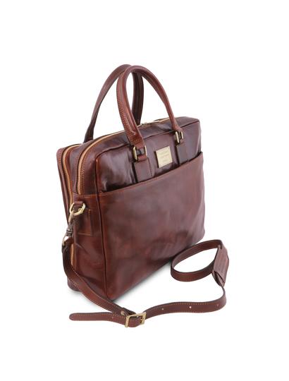 Geanta de laptop din piele maro, cu 2 compartimente, Tuscany Leather, Urbino