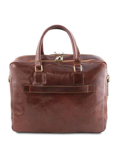 Geanta laptop din piele maro, cu 2 compartimente, Tuscany Leather, U