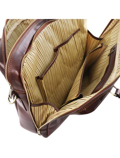 Geanta laptop din piele maro, cu 2 compartimente, Tuscany Leather