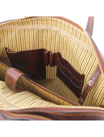 Geanta de laptop din piele maro, cu 2 compartimente, Tuscany Leather