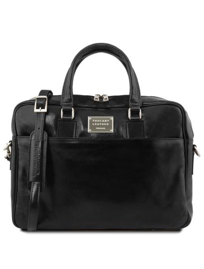 Geanta laptop din piele neagra, cu 2 compartimente, Tuscany Leather, Urbino