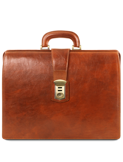 Servieta doctor din piele naturala honey, Tuscany Leather, Canova