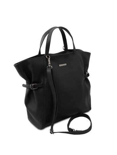 Geanta piele dama neagra, Tuscany Leather, TL Bag