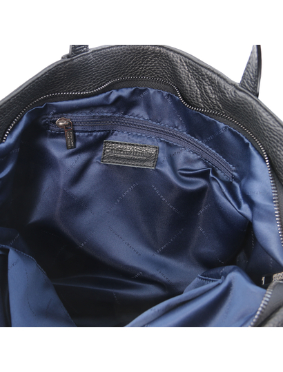 Geanta dama de firma din piele naturala neagra, Tuscany Leather, TL Bag
