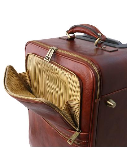 Troler din piele naturala maro, Tuscany Leather, TL