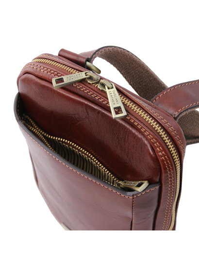 Geanta lux barbati din piele naturala maro, Tuscany Leather, Mark
