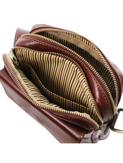 Geanta de lux barbati din piele naturala maro, Tuscany Leather, Larry