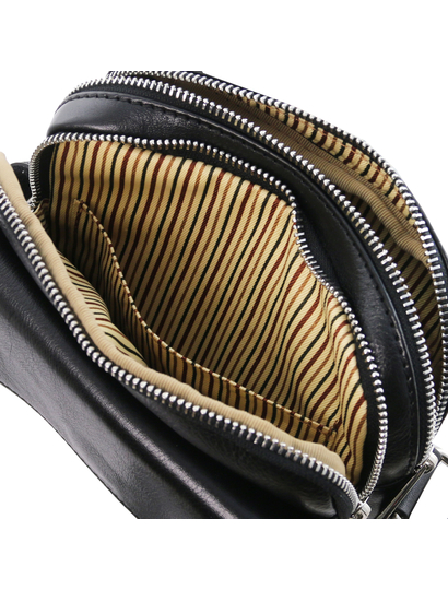 Geanta de firma barbati din piele naturala neagra, Tuscany Leather, Larry