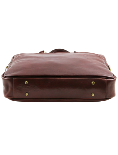 Geanta laptop din piele maro, cu 2 compartimente, Tuscany, Urbino