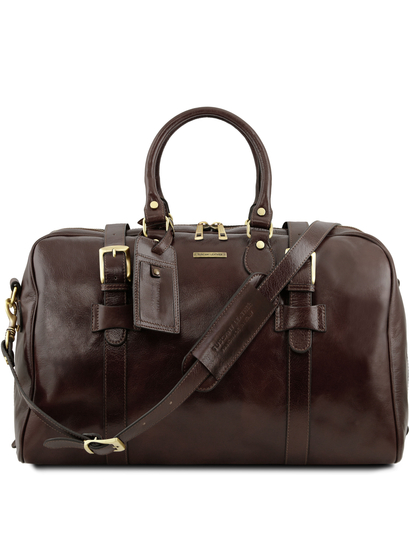 Geanta voiaj din piele maro inchis, cu catarame, marime mare, Tuscany Leather, Voyager