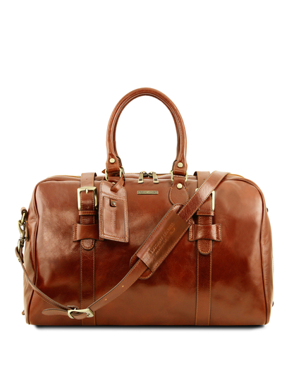 Geanta voiaj din piele honey, cu catarame, marime mica, Tuscany Leather, Voyager
