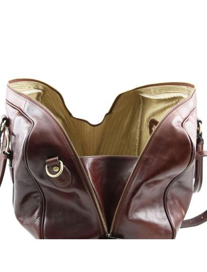 Geanta de voiaj din piele maro inchis, cu catarame, marime mare, Tuscany Leather, Voyager