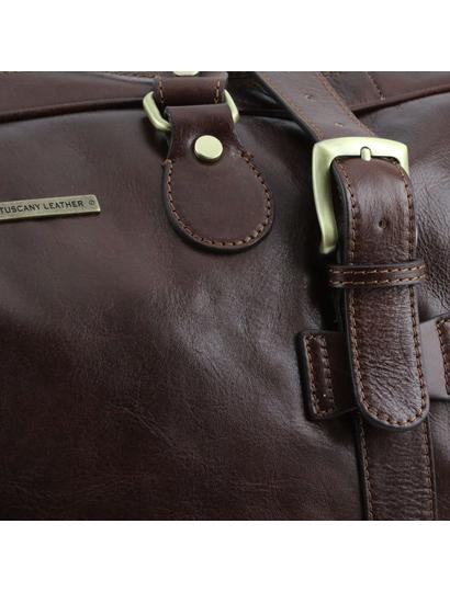 Geanta de voiaj din piele maro inchis, cu catarame, marime mare, Tuscany Leather, V