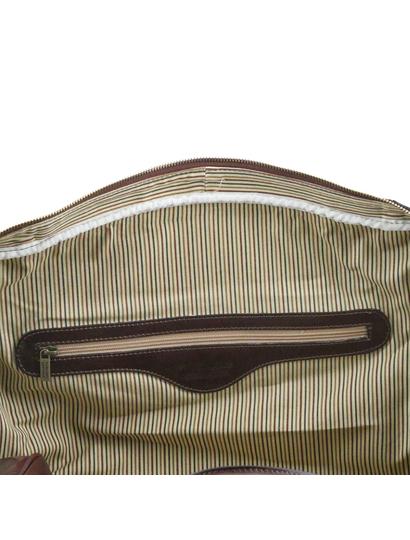 Geanta de voiaj din piele maro inchis, cu catarame, marime mare, Voyager