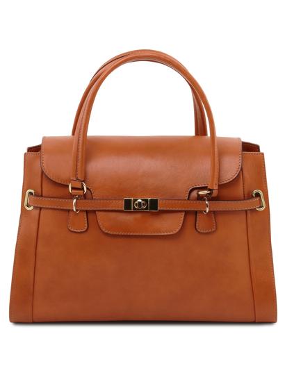 Geanta de mana Tuscany Leather din piele honey, Neoclassic