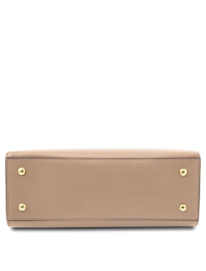 Geanta de mana din piele sampanie, Tuscany Leather, Aura