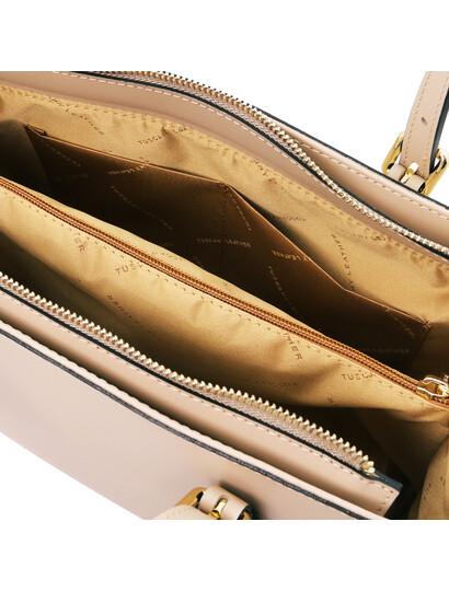 Geanta de dama din piele sampanie, Tuscany Leather, Aura