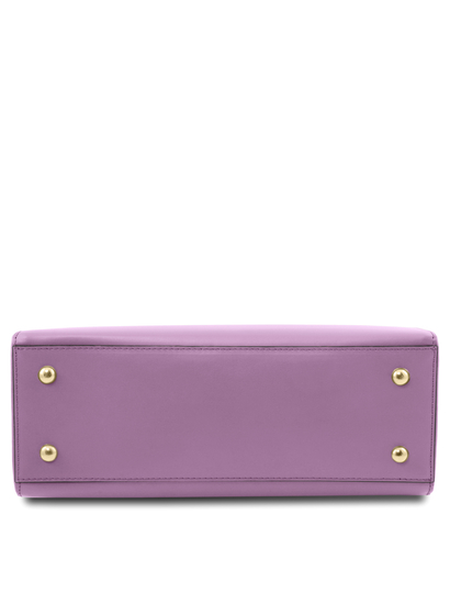 Geanta de mana din piele naturala lila, Tuscany Leather, Aura