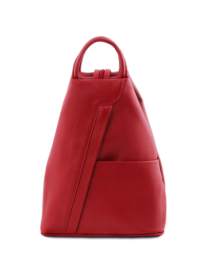Rucsacel dama din piele naturala Tuscany Leather, rosu aprins, Shanghai