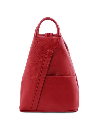 Rucsac dama din piele naturala Tuscany Leather, rosu aprins, Shanghai