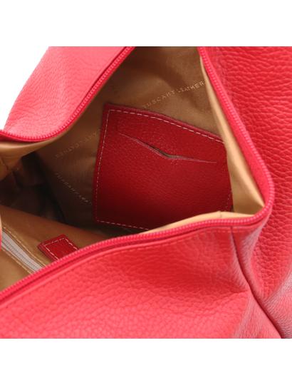 Rucsac din piele naturala Tuscany Leather, rosu aprins, Shanghai