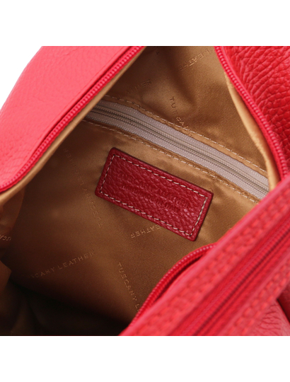 Rucsac dama piele naturala Tuscany Leather, rosu aprins, Shanghai