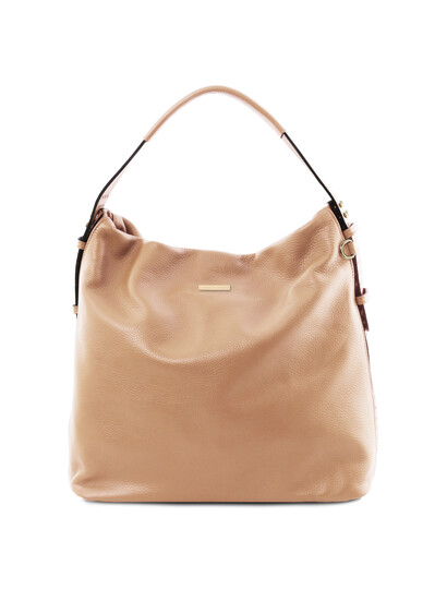 Geanta dama din piele naturala sampanie, Tuscany Leather, TL Bag
