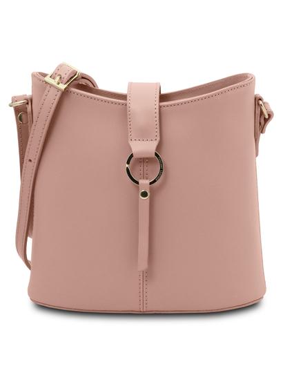 Geanta dama din piele naturala roz pudrat, Tuscany Leather, Teti
