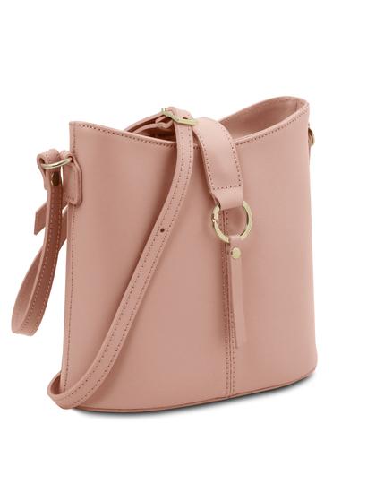 Geanta de dama din piele naturala roz pudrat, Tuscany Leather, Teti