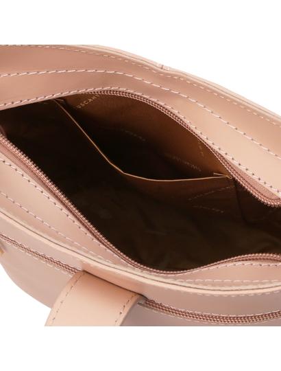 Geanta umar dama din piele naturala roz pudrat, Tuscany Leather, Teti