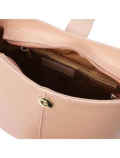 Geanta de umar pentru dama din piele naturala roz pudrat, Tuscany Leather, Teti