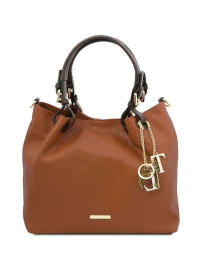 Geanta dama, din piele naturala coniac, Tuscany Leather, TL KeyLuck