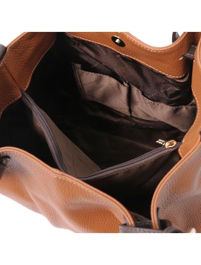 Geanta de dama de umar din piele naturala coniac, Tuscany Leather, TL KeyLuck