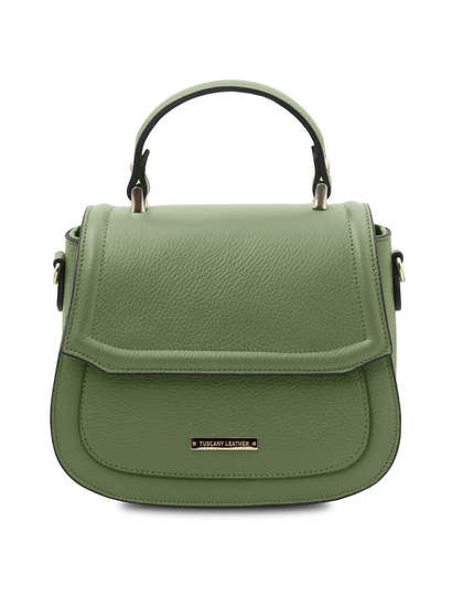 Geanta dama de mana din piele naturala verde menta Tuscany Leather