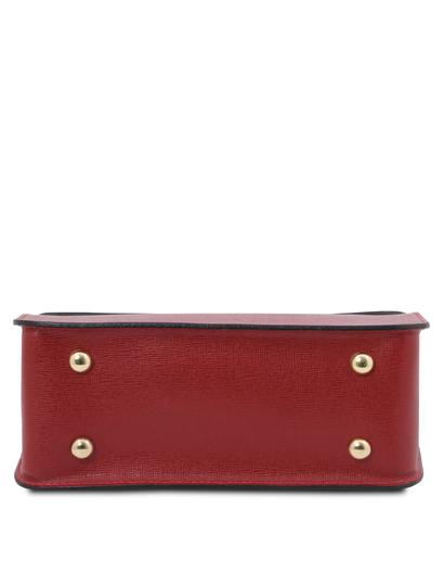 Plic de dama din piele naturala saffiano, rosu, Tuscany Leather, TL Bag