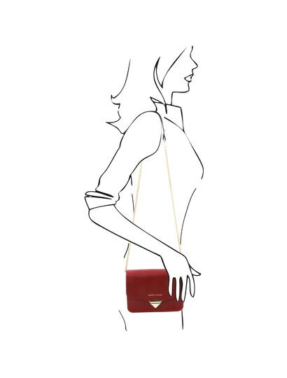 Plic piele naturala saffiano, rosu, Tuscany Leather, TL Bag