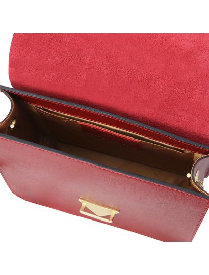 Plic dama din piele naturala saffiano, rosu, Tuscany Leather, TL Bag