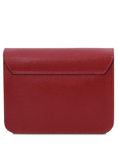 Plic din piele saffiano, rosu, Tuscany Leather, TL Bag