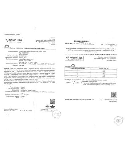 Masti chirurgicale medicale Raport de testare Omninova