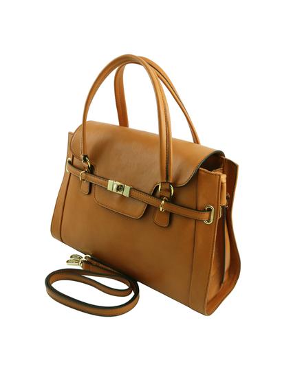Geanta mana Tuscany Leather din piele honey, Neoclassic