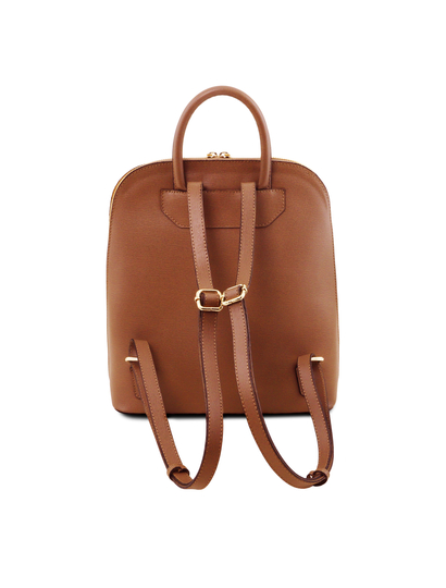 Rucsac dama din piele naturala saffiano coniac, Tuscany Leather
