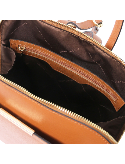 Rucsac saffiano dama din piele naturala coniac, Tuscany Leather