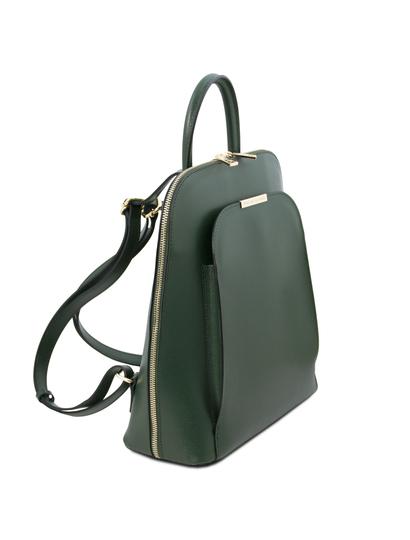 Rucsac saffiano dama din piele naturala verde Tuscany Leather