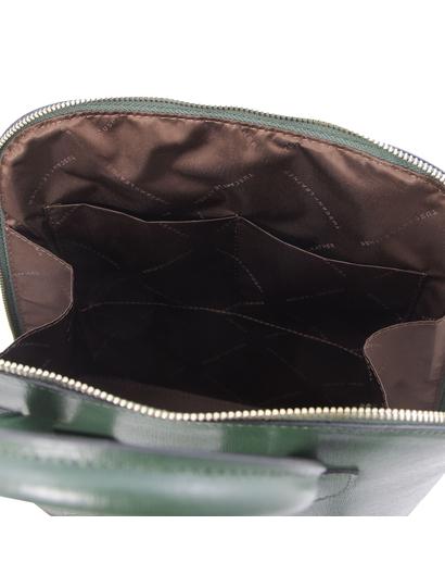 Rucsac dama din piele naturala saffiano verde Tuscany Leather