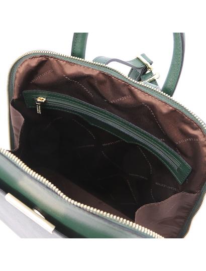 Rucsac de dama din piele naturala verde Tuscany Leather